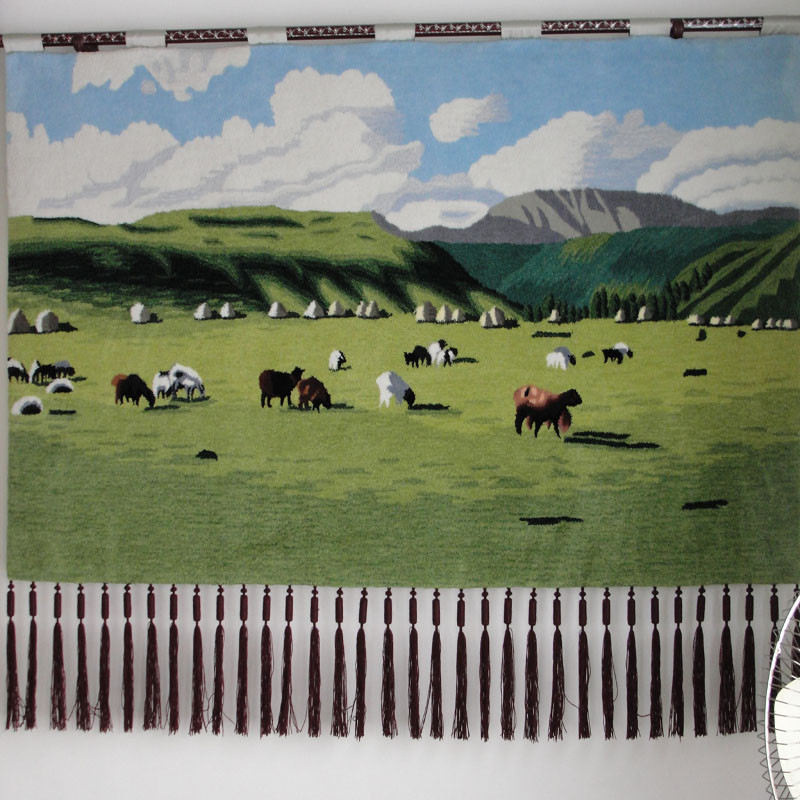 化纤手工挂毯长方形风景明清古典