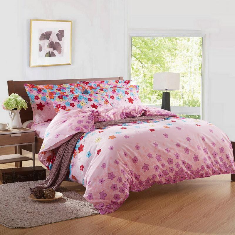 天绚 聚酯纤维所有人四件套床单式田园风格活性印花 国色天香床品件套四件套