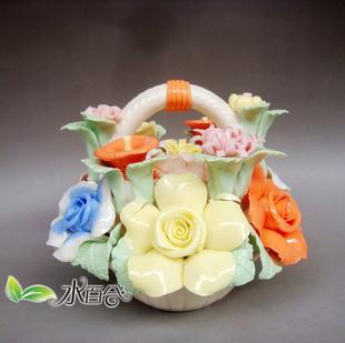 水百合 陶瓷植物現代中式 擺件