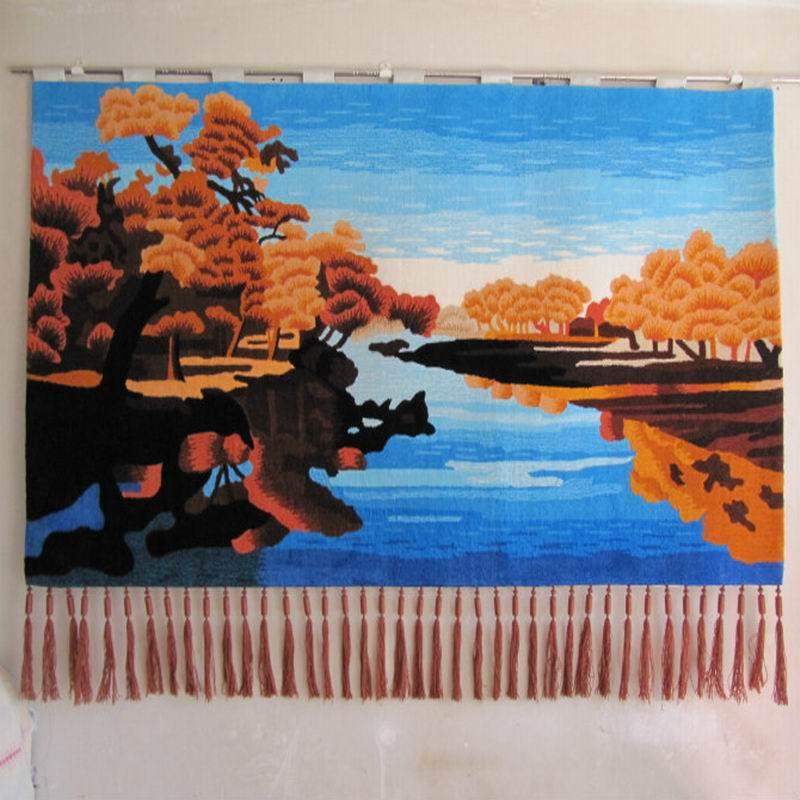 琪斯美化纤手工挂毯长方形风景美式乡村挂毯