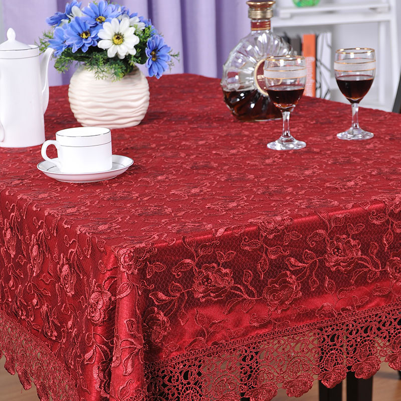 华欣 红色米色布植物花卉欧式 桌布