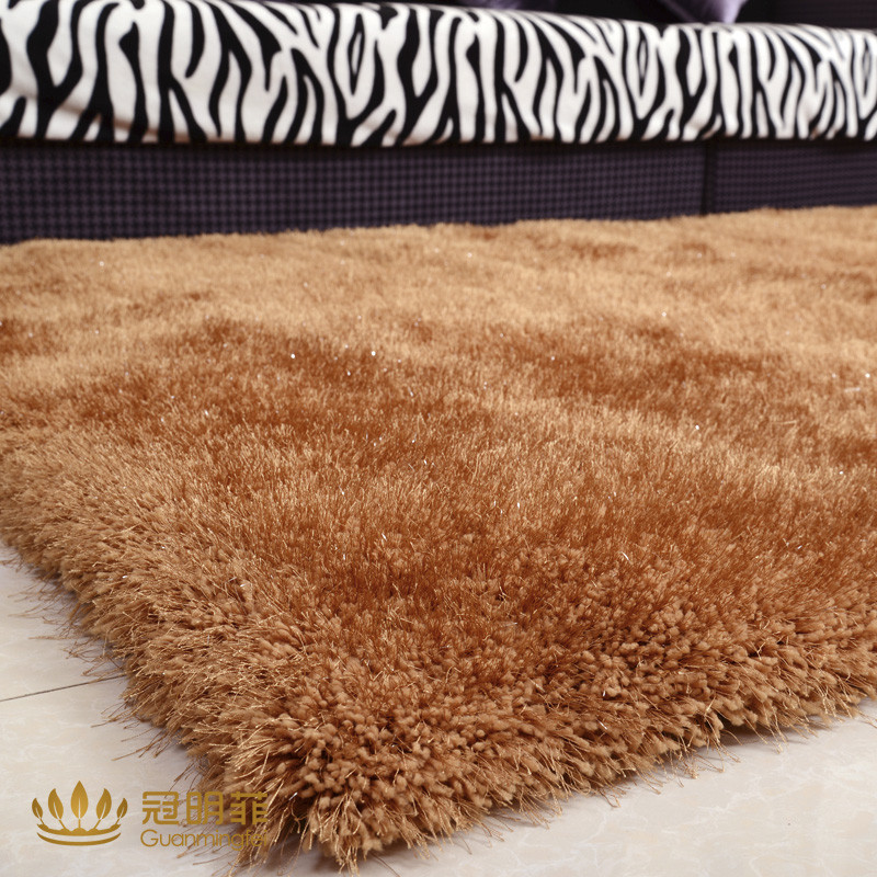 冠明菲 蚕丝简约现代纯色长方形欧美机器织造 地毯