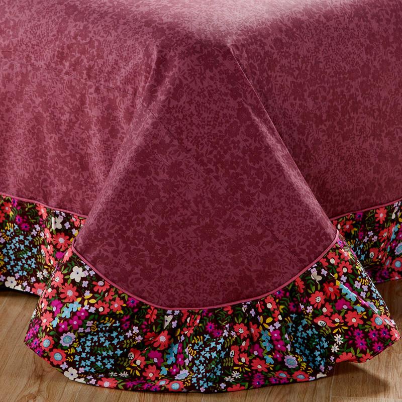 格诗雅活性印花田园绗缝斜纹植物花卉床裙式简约风床品件套四件套