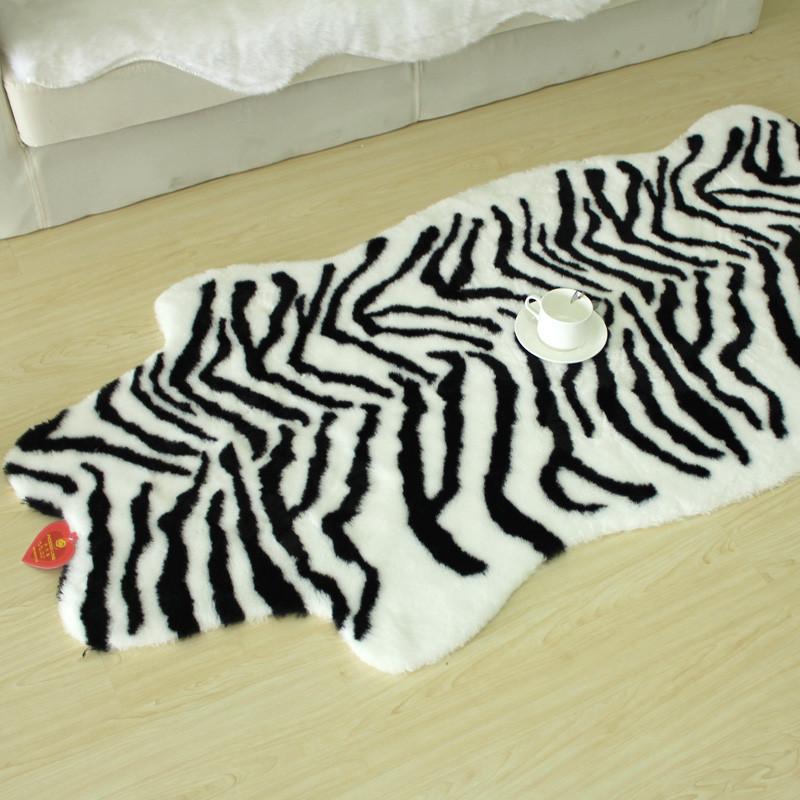 菲诗澜黑白色棕白色斑马纹混纺日式条纹日韩机器织造地毯