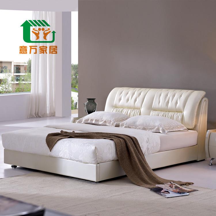 意万家居 木接触面真皮组装方形简约现代 床