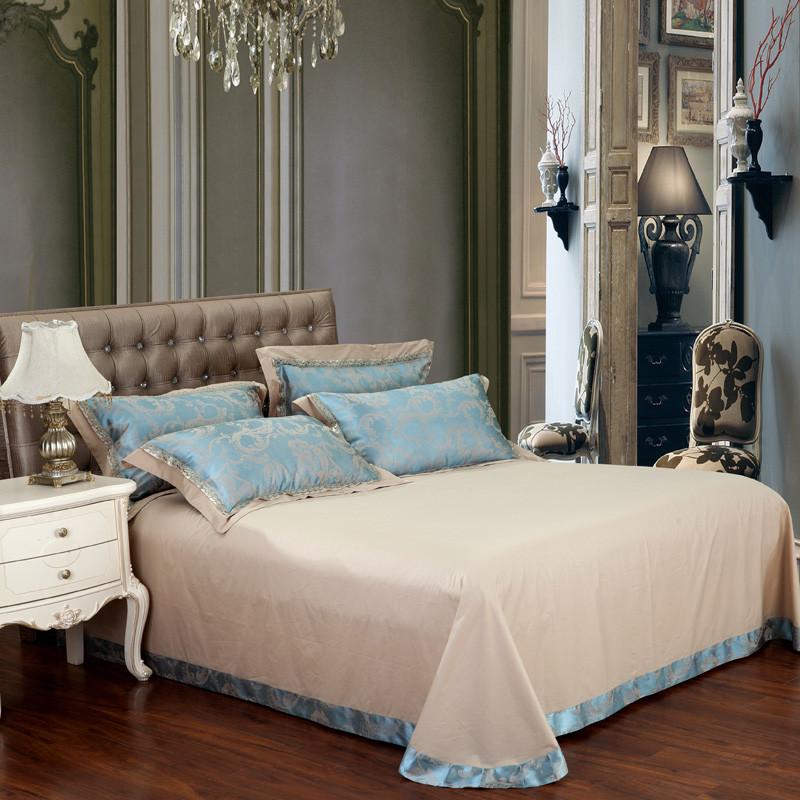 艾诗曼活性印花欧式丝绵提花一等品植物花卉床单式欧美风床品件套四件套