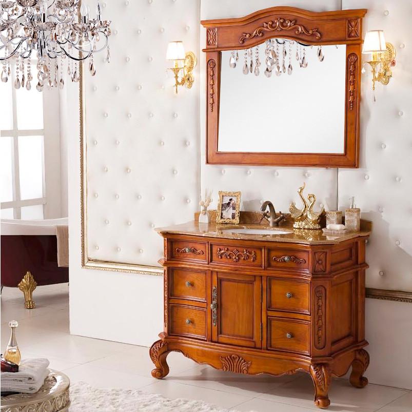美琦 橡胶木含带配套面盆大理石台面E0级欧式 195浴室柜