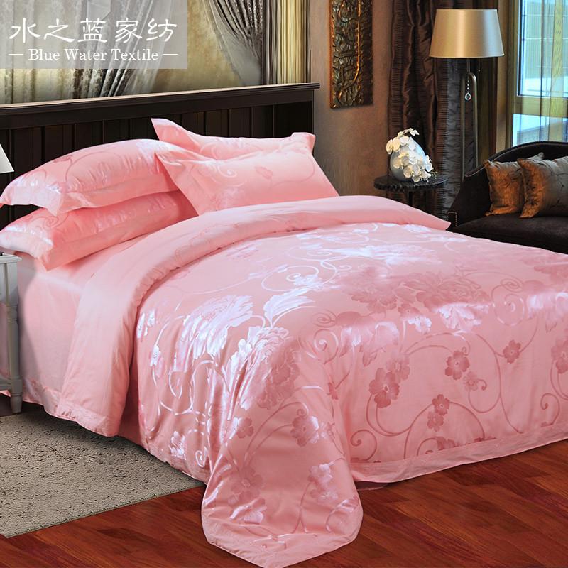 水之藍 活性印花歐式混紡提花植物花卉床單式歐美風 床品件套四件套