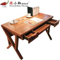 组装人造板核桃木拆装单个现代中式 书桌