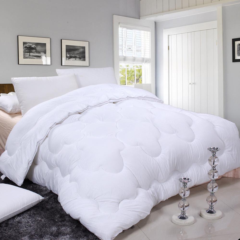 绿意轩粉白白绗缝七孔纤维冬季磨毛涤棉化纤被子
