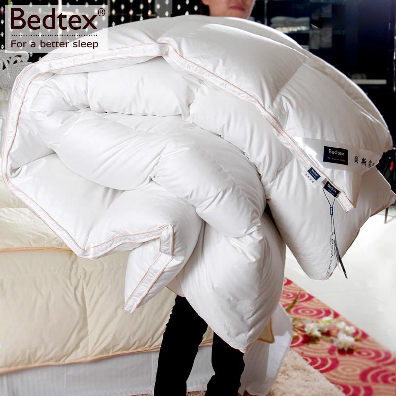 白鹅绒立衬冬季贡缎长绒棉羽绒被子