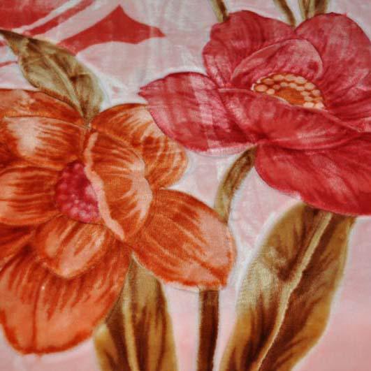 美雅 5%拉舍尔WK2023-5.2-2毛毯一等品冬季植物花卉现代中式 毛毯
