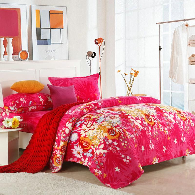 天绚 珊瑚绒成年人四件套床单式几何图形活性印花 繁华似锦床品件套四件套