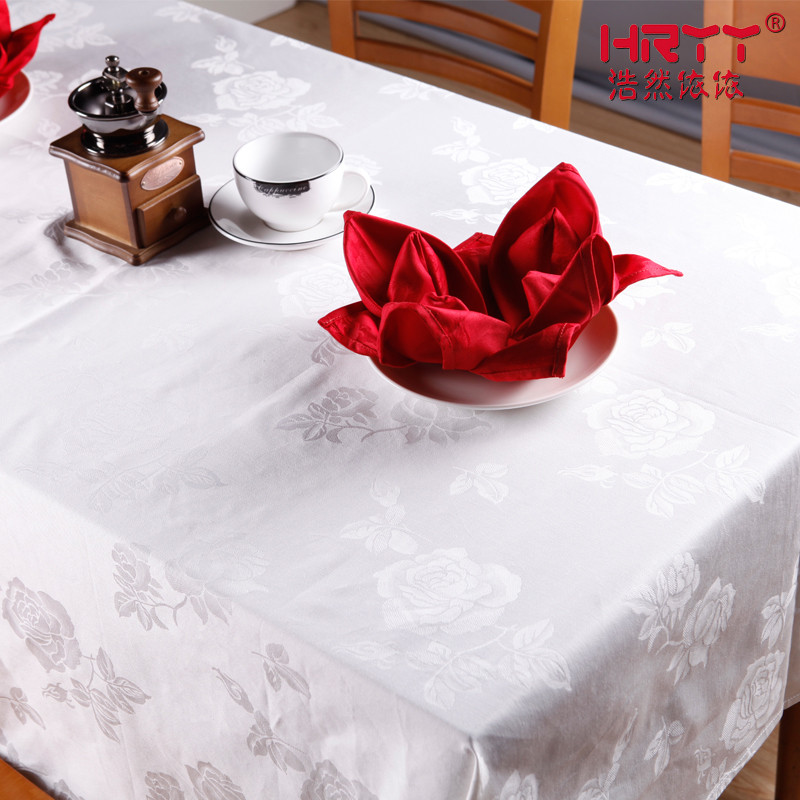 浩然依依 白色玫瑰花臺布植物花卉簡約現代 桌布