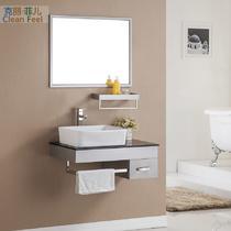 不锈钢含带配套面盆玻璃台面E0级简约现代 kL-8607浴室柜