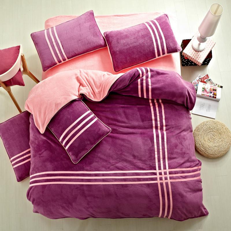 苏奥聚酯纤维活性印花圆网印花珊瑚绒平纹布纯色床单式简约风床品件套四件套