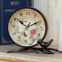蝴蝶红花款玫瑰花款金属单面美式乡村 闹钟