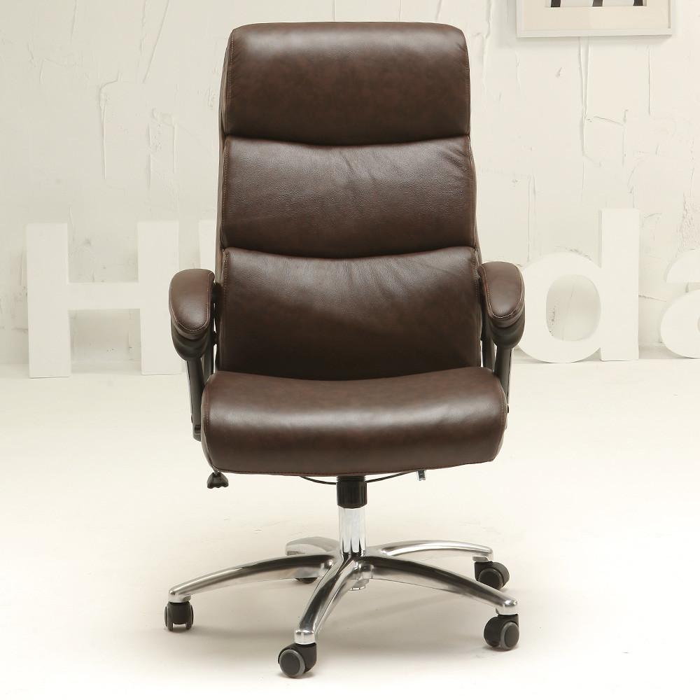 黑白调 固定扶手尼龙脚铝合金脚皮艺 电脑椅