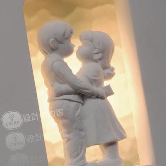 设计师的灯 玻璃石膏简约现代雕刻白炽灯节能灯LED 情侣石膏壁灯壁灯