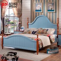 橡胶木框架结构地中海拼板 B201床床
