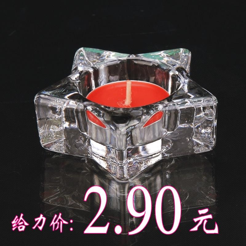 萬得福 玻璃杯狀蠟燭塊狀蠟燭歐式 P451燭臺