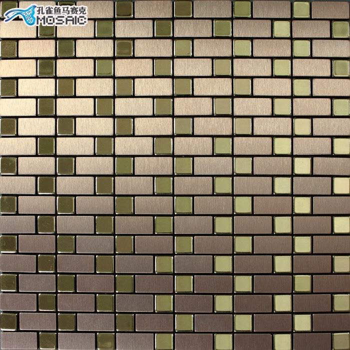 孔雀鱼马赛克 褐色金属内墙欧式 瓷砖