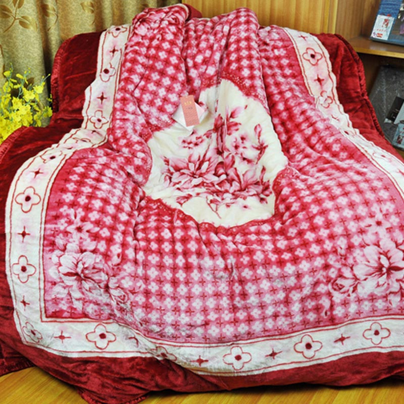 美雅 2%-5%拉舍尔毛毯一等品冬季植物花卉简约现代 毛毯