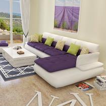 接触面真皮L形木质工艺海绵简约现代 沙发