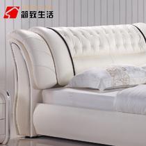 木接触面真皮组装方形简约现代 床