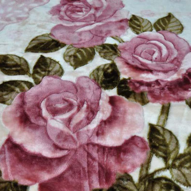 美雅 635紫色5%拉舍尔毛毯一等品冬季植物花卉现代中式 毛毯