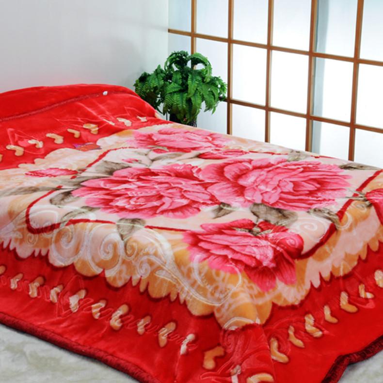 美雅 5%拉舍尔6914309801524毛毯一等品冬季植物花卉现代中式 毛毯
