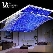 水晶铁简约现代电镀长方形白炽灯节能灯LED HS510020吸顶灯