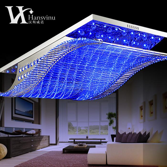 汉斯威诺 水晶铁简约现代电镀长方形白炽灯节能灯LED HS510020吸顶灯