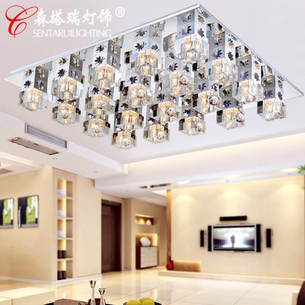 森塔瑞灯饰水晶不锈钢简约现代镀铬长方形白炽灯节能灯-吸顶灯