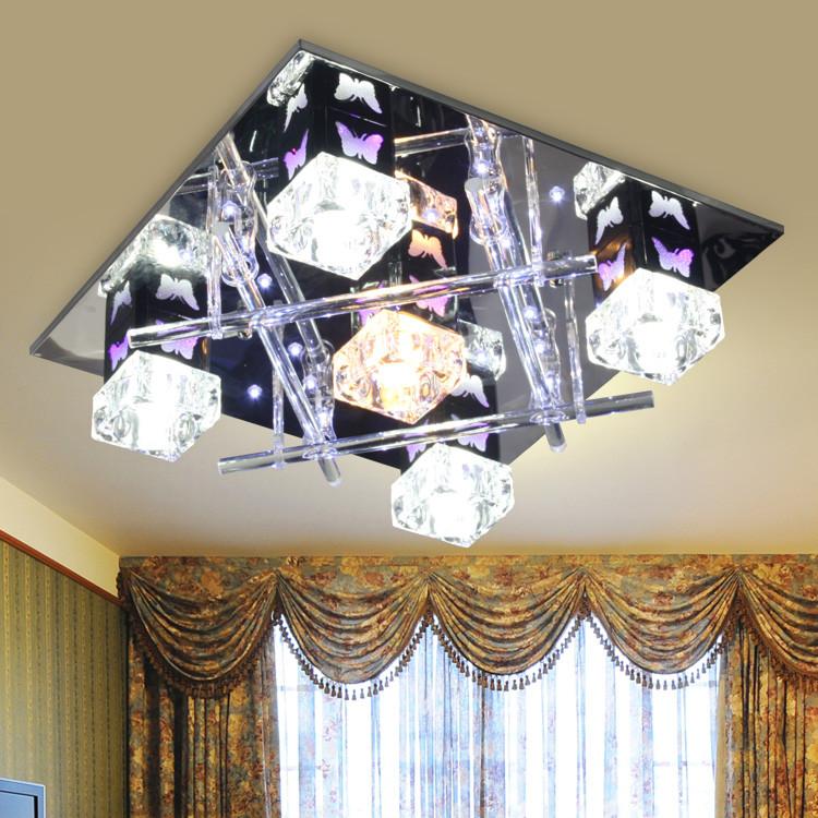 丰耀水晶不锈钢简约现代电动冲孔白炽灯节能灯吸顶灯