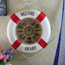 红色深蓝色麻布/麻绳结/棉绳单面地中海 挂钟