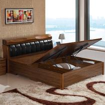 乌金木色框架结构组装式箱体床现代中式 床