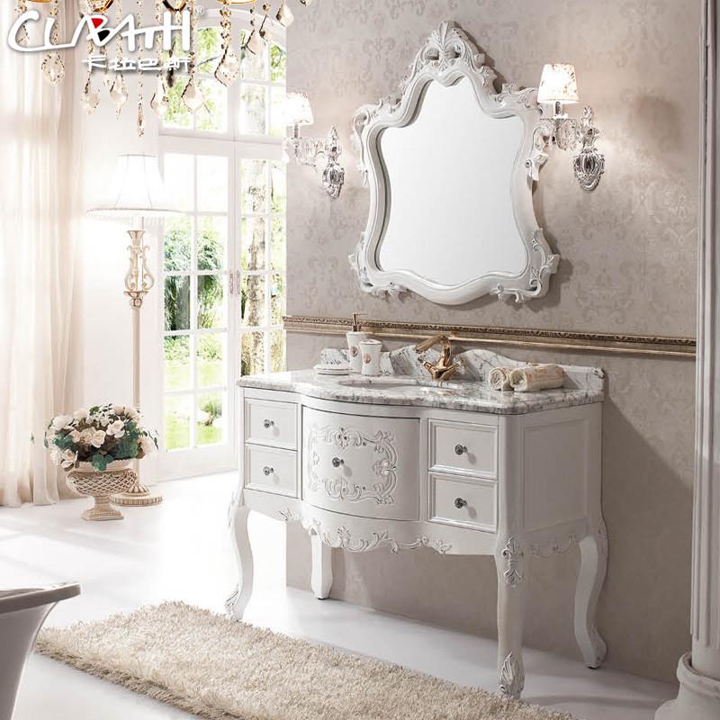 卡拉巴斯橡木含带配套面盆大理石台面级欧式-浴室柜