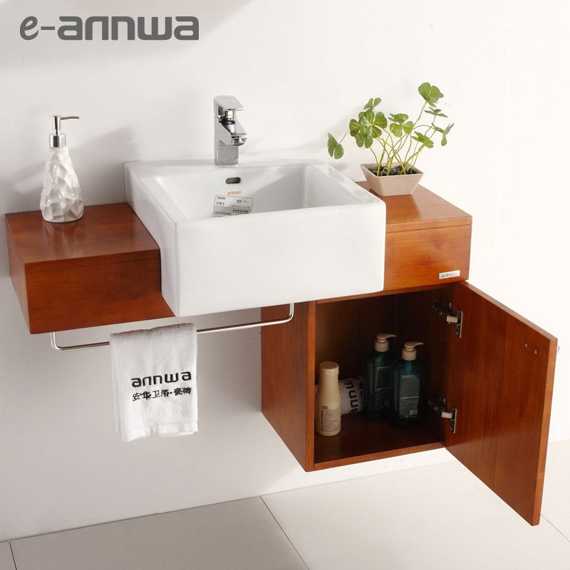 安华洁具 橡木一体陶瓷盆E0级简约现代 浴室柜