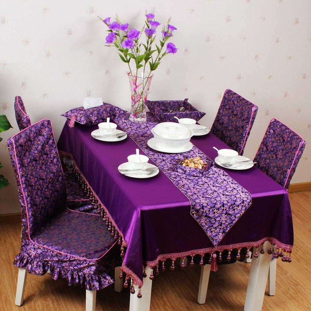 瑜儿菲 紫色绸缎植物花卉欧式 桌布