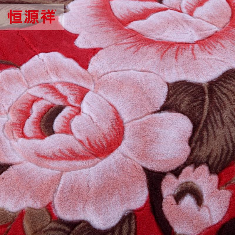 恒源祥大红色-羊毛羊绒毯冬季植物花卉新古典毛毯