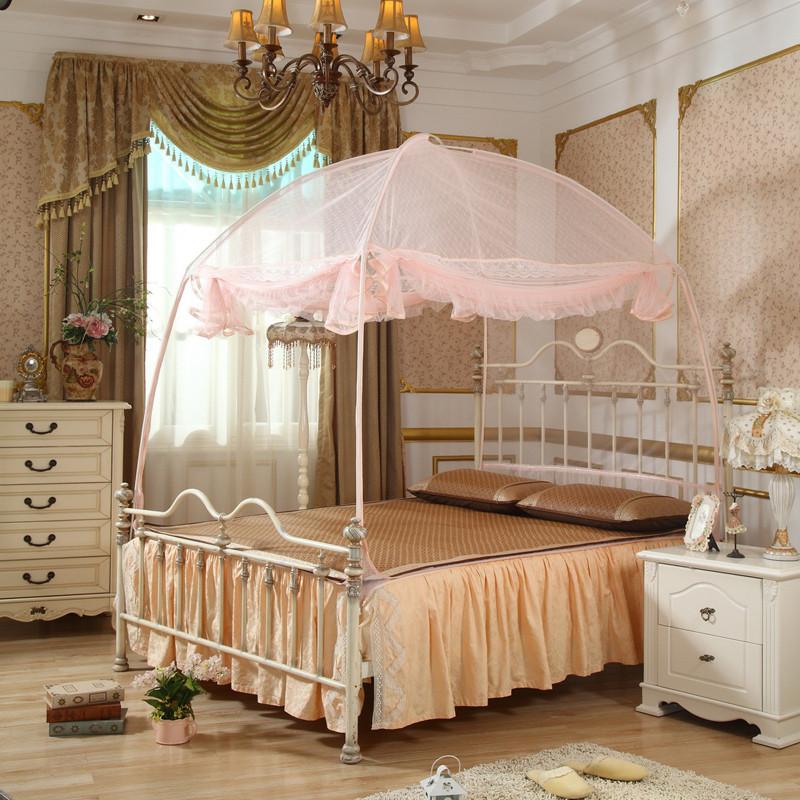 自然风紫色粉色米黄绿色杏色玻璃纤维管蚊帐蒙古包式通用蚊帐