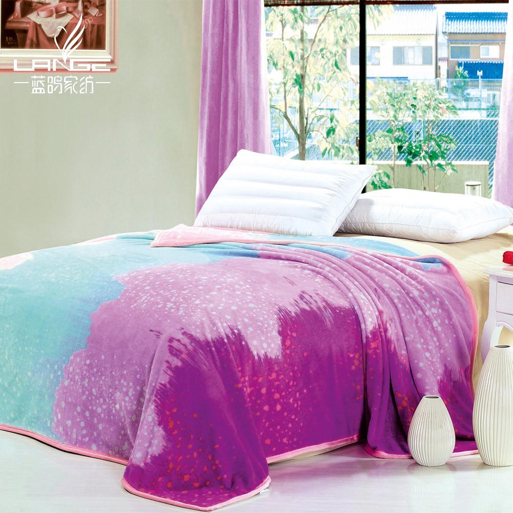蓝鸽家纺春秋条纹简约现代毛毯