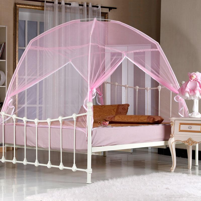若琳粉色白色米黄玻璃纤维管蚊帐蒙古包式通用蚊帐