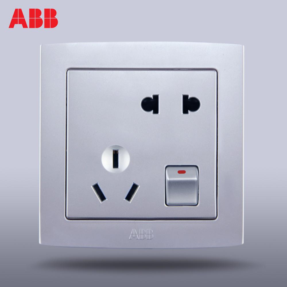 ABB 銀色86型 德韻直邊AL225-S插座