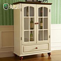 象牙白框架结构楸木储藏美式乡村 酒柜