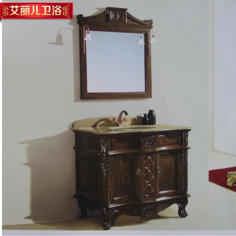 艾丽儿橡木含带配套面盆大理石台面欧式浴室柜
