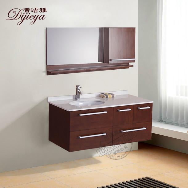 帝洁雅橡胶木含带配套面盆人造石台面田园浴室柜