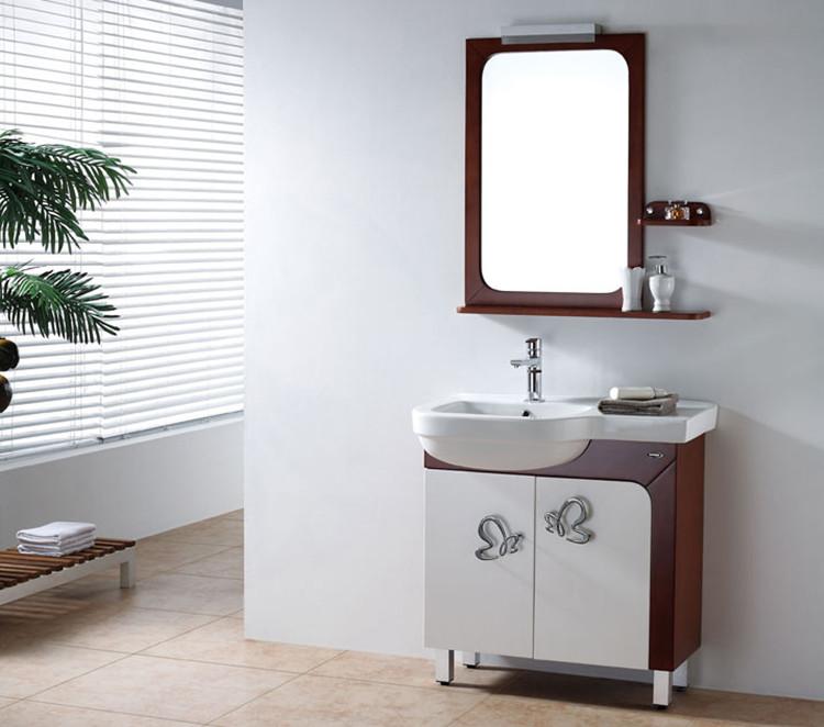 箭牌白色橡胶木一体陶瓷盆级欧式浴室柜