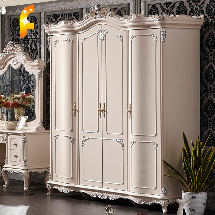 法丽莎 欧式四门衣柜橡木储藏平拉门艺术成人 衣柜